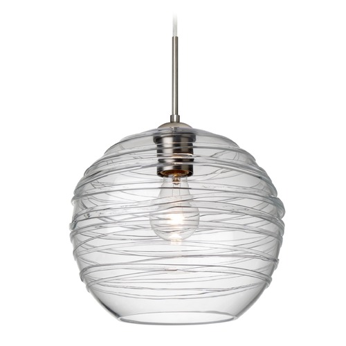 Besa Lighting Besa Lighting Wave Satin Nickel Pendant Light with Globe Shade 1JT-462761-SN