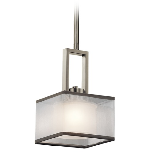 Kichler Lighting Kichler Lighting Kailey Brushed Nickel Mini-Pendant Light with Square Shade 43442NI