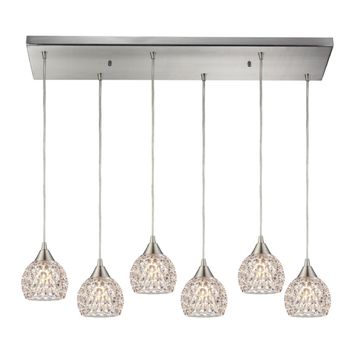 Elk Lighting Crystal Multi-Light Pendant Light with Clear Glass and 6-Lights 10341/6RC
