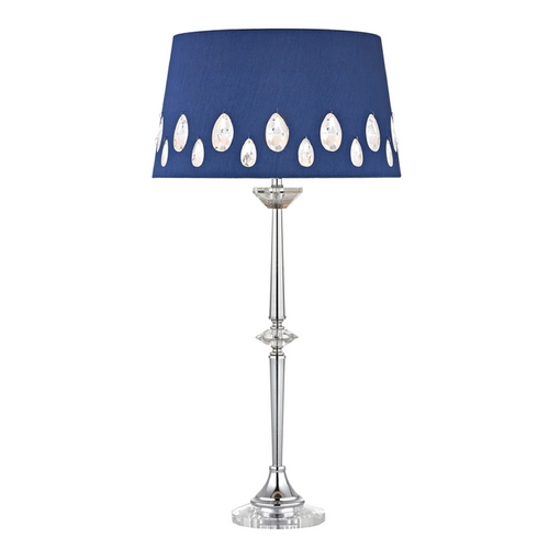 Dimond Lighting Console & Buffet Lamp with Blue Shades in Clear with Chrome Finish D2525