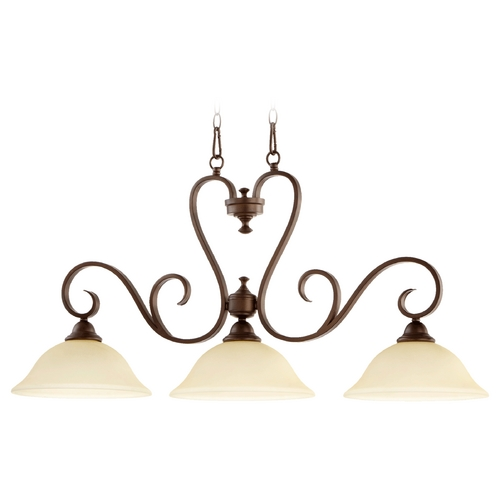 Quorum Lighting Quorum Lighting Celesta Oiled Bronze Island Light with Bell Shade 6553-3-86