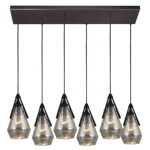 Elk Lighting Elk Lighting Duncan Oil Rubbed Bronze Multi-Light Pendant with Bowl / Dome Shade 46172/6RC