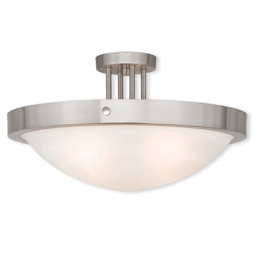 Livex Lighting Livex Lighting New Brighton Brushed Nickel Semi-Flushmount Light 73957-91