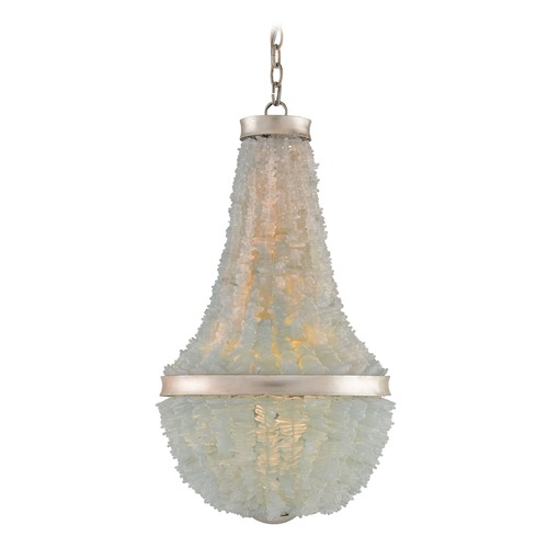Currey and Company Lighting Currey and Company Plata Silver Leaf / Seaglass Pendant Light 9966