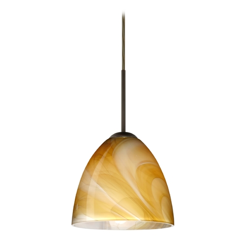 Besa Lighting Modern Pendant Light with Brown Glass in Bronze Finish 1JT-4470HN-BR