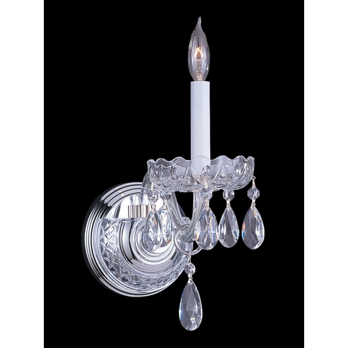 Crystorama Lighting Crystal Sconce Wall Light in Polished Chrome Finish 1031-CH-CL-MWP