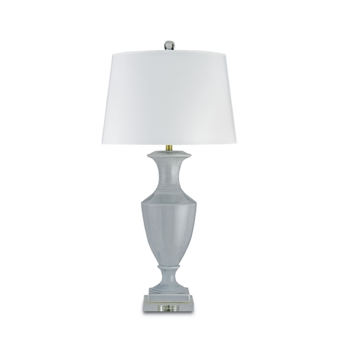 Currey and Company Lighting Table Lamp with White Paper Shade in Blue Crackle/clear Finish 6487