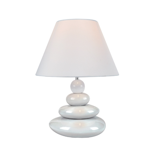 Lite Source Lighting Lite Source Lighting Tiya White Table Lamp with Coolie Shade LS-22112WHT