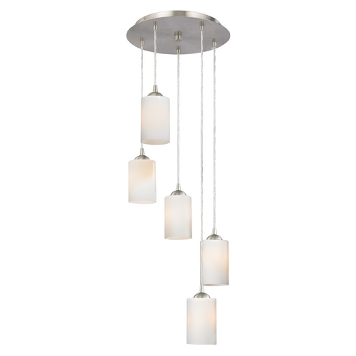 Design Classics Lighting Modern Multi-Light Pendant Light with White Glass and 5-Lights 580-09 GL1024C