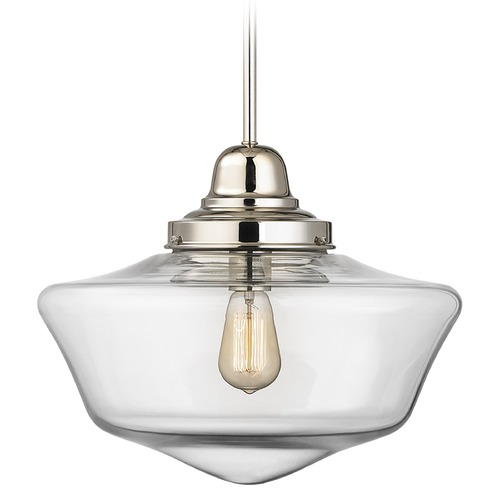 Design Classics Lighting 16-Inch Clear Glass Schoolhouse Pendant Light in Polished Nickel Finish FB6-15 / GA16-CL