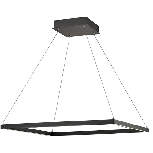 Design Classics Lighting Modern 28-Inch LED Square Pendant Light Black Finish 2100LM 3000K 1946-BK
