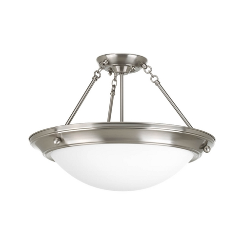 Progress Lighting Semi-Flushmount Light with White Glass in Brushed Nickel Finish P7329-09WB