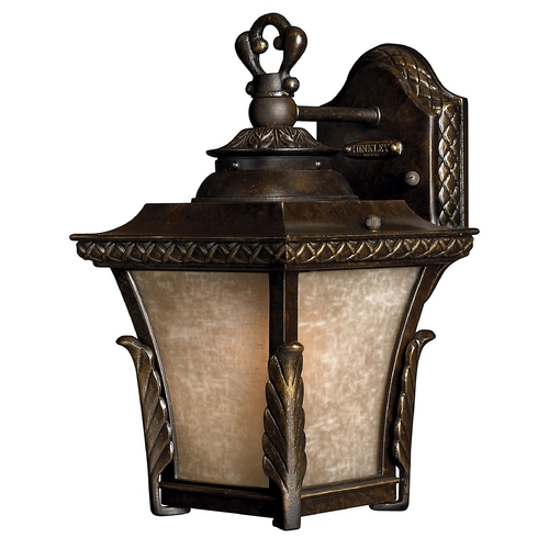 Hinkley Lighting Outdoor Wall Light with Amber Glass in Regency Bronze Finish 1930RB-GU24