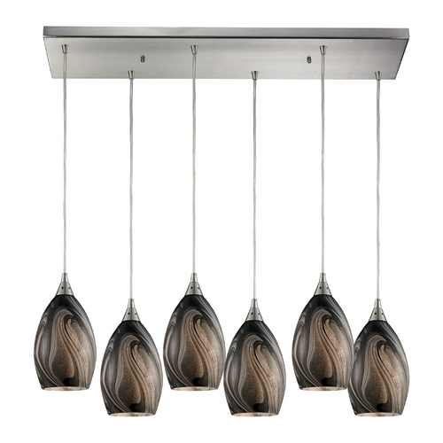 Elk Lighting Modern Multi-Light Pendant Light with Brown Glass and 6-Lights 31133/6RC-ASH