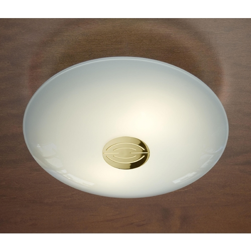 Holtkoetter Lighting Holtkoetter Modern Semi-Flushmount Light with White Glass in Polished Brass Finish 3502DEK PB