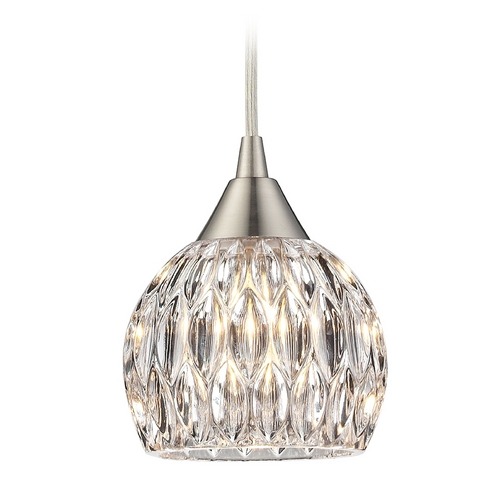 Elk Lighting Crystal Mini-Pendant Light with Clear Glass 10342/1