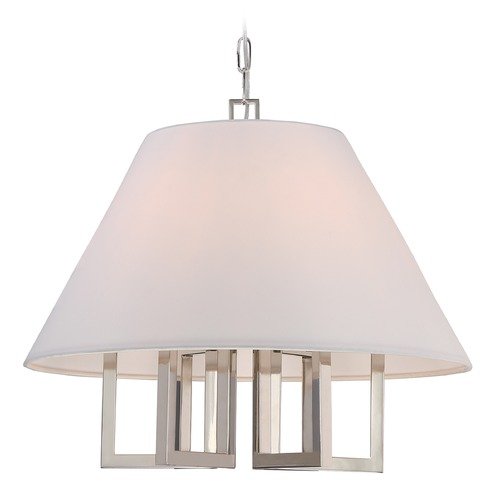 Crystorama Lighting Crystorama Lighting Westwood Polished Nickel Pendant Light with Empire Shade 2256-PN