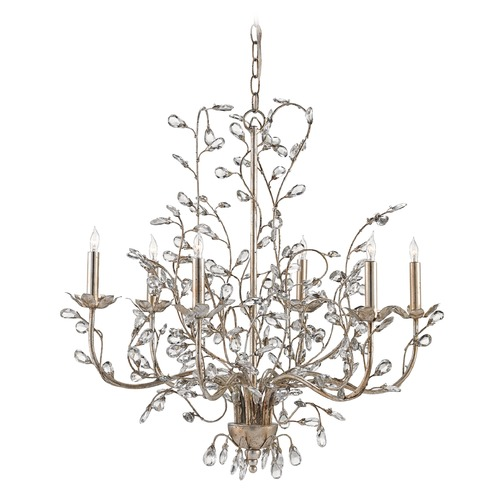 Currey and Company Lighting Currey and Company Crystal Bud Silver Granello Crystal Chandelier 9973