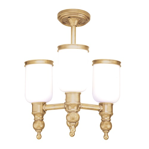 Hudson Valley Lighting Semi-Flushmount Light with White Glass in Aged Brass Finish 6313-AGB