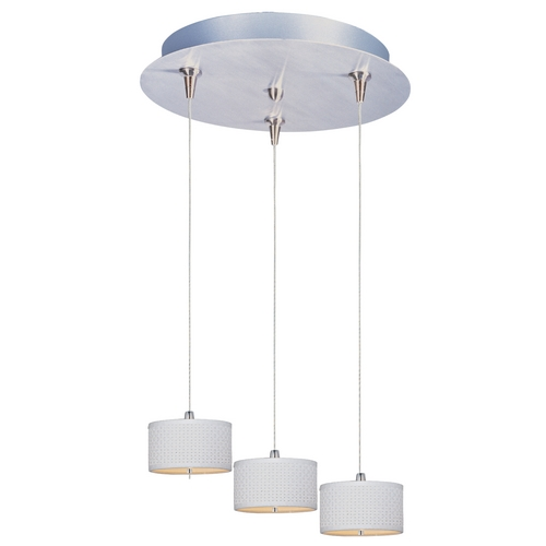 ET2 Lighting Modern Low Voltage Multi-Light Pendant Light with White Shades and 3-Lights E95492-100SN