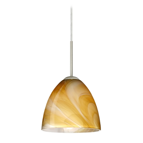 Besa Lighting Modern Pendant Light with Brown Glass in Satin Nickel Finish 1JT-4470HN-SN