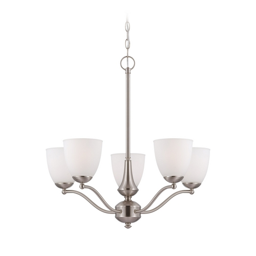 Nuvo Lighting Chandelier with White Glass in Brushed Nickel Finish 60/5055