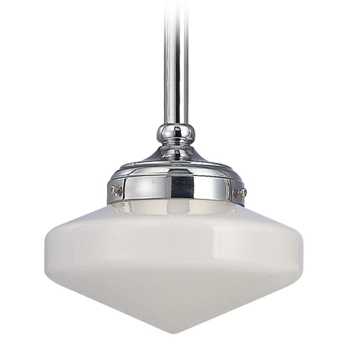 Design Classics Lighting Polished Chrome 8-Inch Schoolhouse Mini-Pendant Light FA4-26 / GE8