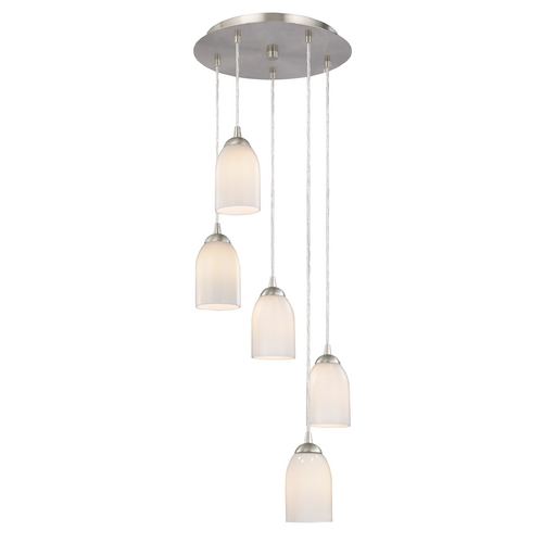 Design Classics Lighting Modern Multi-Light Pendant Light with White Glass and 5-Lights 580-09 GL1024D
