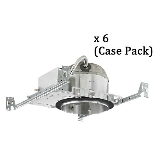Recesso Lighting by Dolan Designs 6-Inch New Construction E26 Recessed Shallow Can Light IC & Airtight Flat Ceiling Case Pack of 6 IC61-CASE