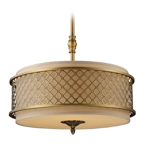 Elk Lighting Elk Lighting Chester Brushed Antique Brass LED Pendant Light with Drum Shade 31033/4-LED