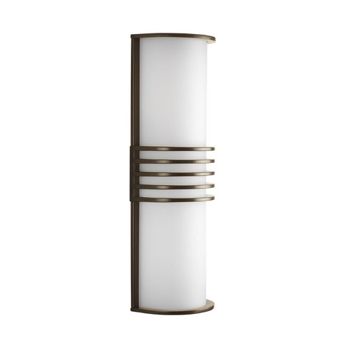 Progress Lighting Progress Modern Outdoor Wall Light with White in Antique Bronze Finish P5915-20