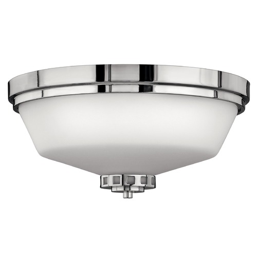 Hinkley Lighting Flushmount Light with White Glass in Chrome Finish 5191CM