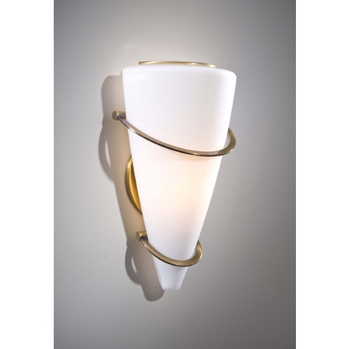 Holtkoetter Lighting Holtkoetter Modern Sconce Wall Light with White Glass in Antique Brass Finish 2969 AB SW