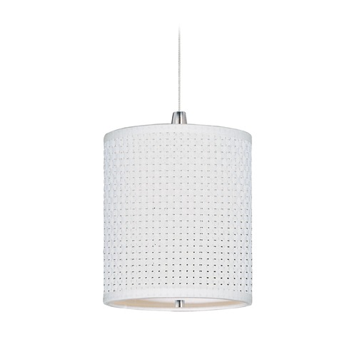ET2 Lighting Elements Satin Nickel Mini-Pendant Light with Cylindrical Shade E95479-100SN