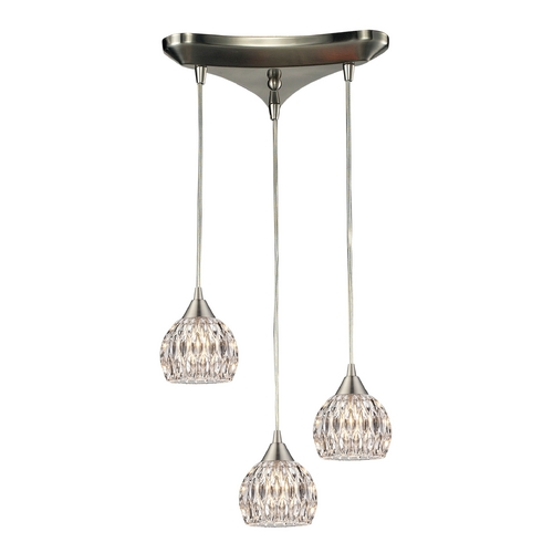Elk Lighting Crystal Multi-Light Pendant Light with Clear Glass and 3-Lights 10342/3