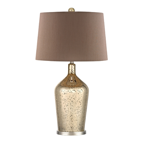 Dimond Lighting Table Lamp with Brown Shades in Antique Gold Mercury with Polished Nickel Finish D355