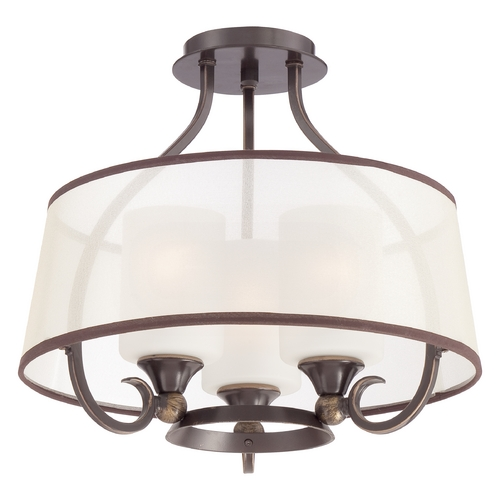 Quoizel Lighting Quoizel Palmer Palladian Bronze Semi-Flushmount Light PLR1716PN