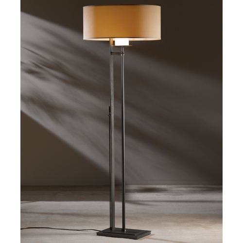 Hubbardton Forge Lighting Hubbardton Forge Lighting Rook Dark Smoke Floor Lamp with Drum Shade 234901-SKT-07-SB2095