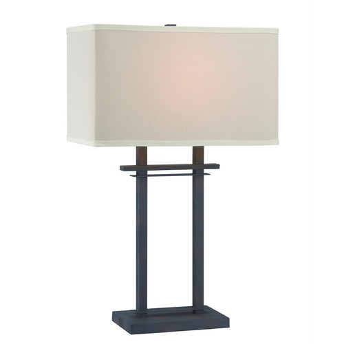 Lite Source Lighting Lite Source Leverett Aged Bronze Table Lamp with Rectangle Shade LS-22384