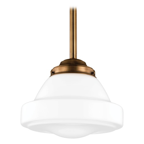 Feiss Lighting LED Schoolhouse Pendant Light Opal Glass Brass 13.875-Inch Wide by Feiss Lighting P1381AGB-LED
