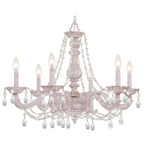 Crystorama Lighting Crystorama Lighting Paris Market Antique White Crystal Chandelier 5026-AW-CL-I