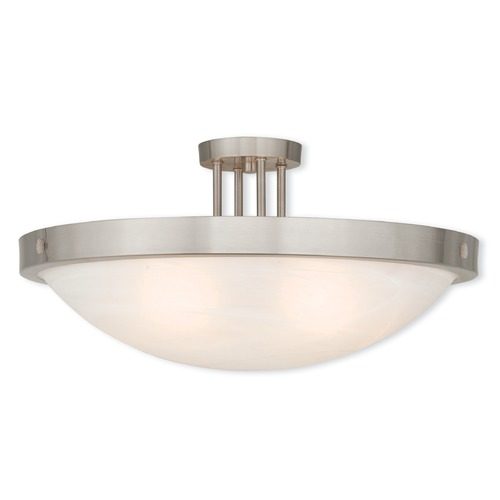 Livex Lighting Livex Lighting New Brighton Brushed Nickel Semi-Flushmount Light 73958-91