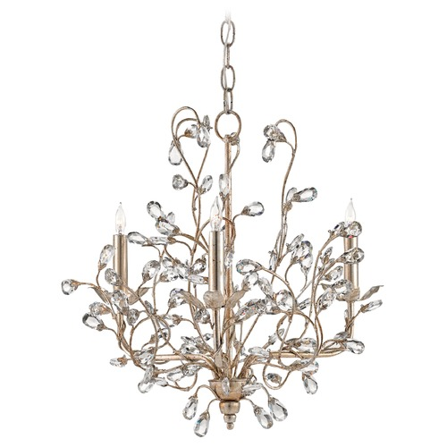 Currey and Company Lighting Currey and Company Crystal Bud Silver Granello Crystal Chandelier 9974