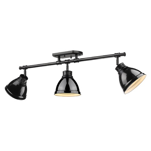 Golden Lighting Golden Lighting Duncan Black Track Light Kit with Gloss Black Shade 3602-3SFBLK-BK