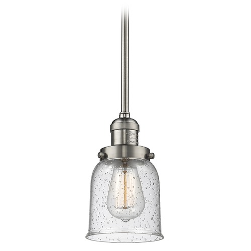 Innovations Lighting Innovations Lighting Small Bell Brushed Satin Nickel Mini-Pendant Light with Bell Shade 201S-SN-G54