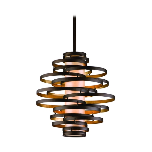 Corbett Lighting Modern Pendant Light in Bronze / Gold Leaf Finish 113-42