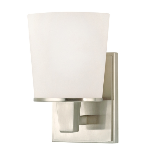 Dolan Designs Lighting Modern Sconce Wall Light with White Glass in Satin Nickel Finish 1096-09