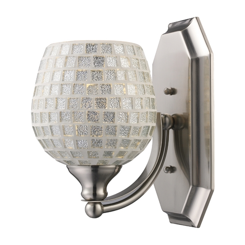 Elk Lighting Sconce with Art Glass in Satin Nickel Finish 570-1N-SLV