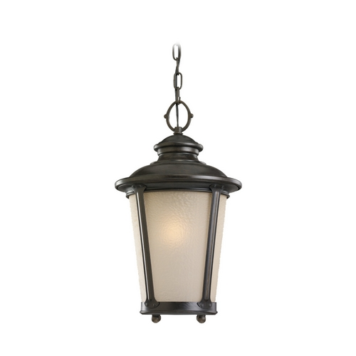 Sea Gull Lighting Outdoor Hanging Light with Amber Glass in Burled Iron Finish 60240-780