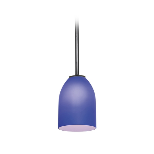 Access Lighting Modern Mini-Pendant Light with Blue Glass 28018-2R-ORB/COB